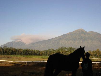 Mount Merapi and Mount Merbabu seen from the race track